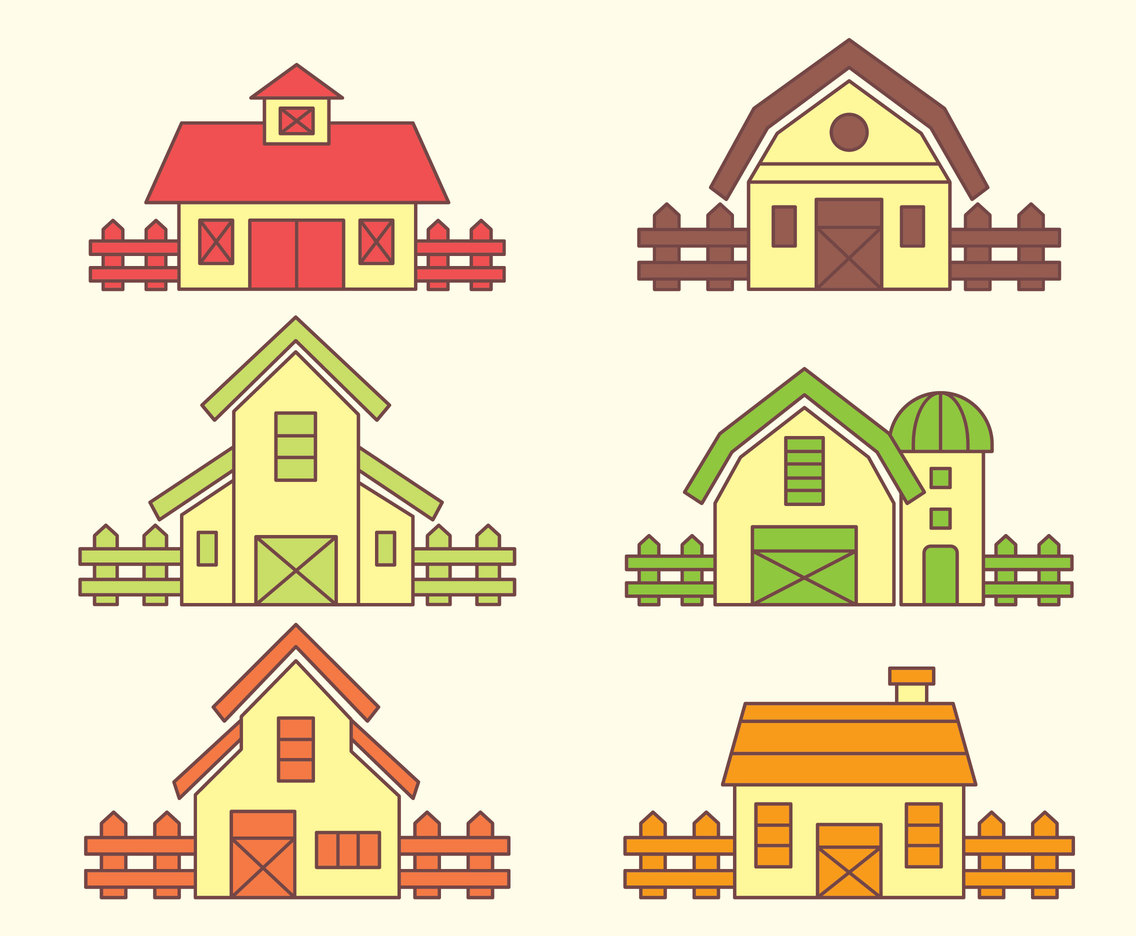 Colorful Barn Vector Set