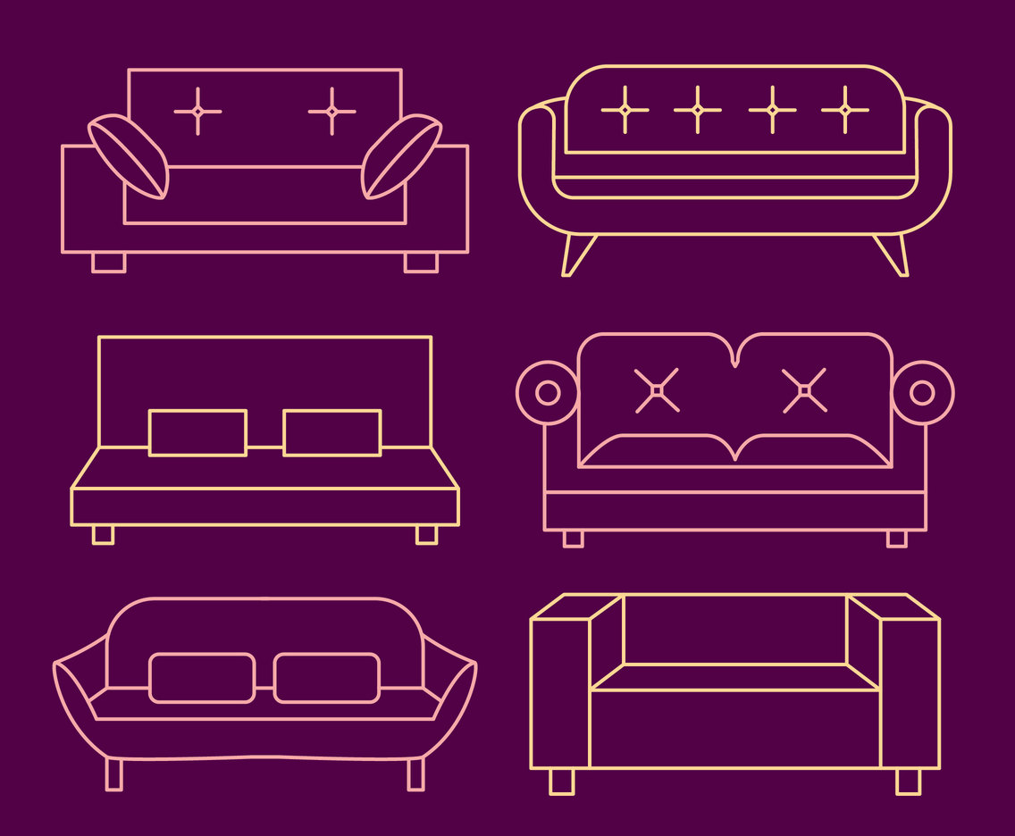 Couch Line Vector Collection