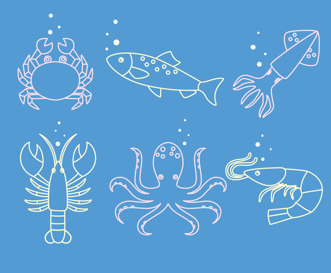 Seafood Line Vector Set