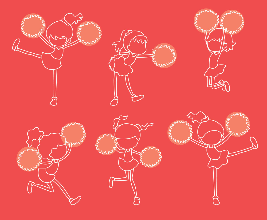Girl Cheerleader Line Vector