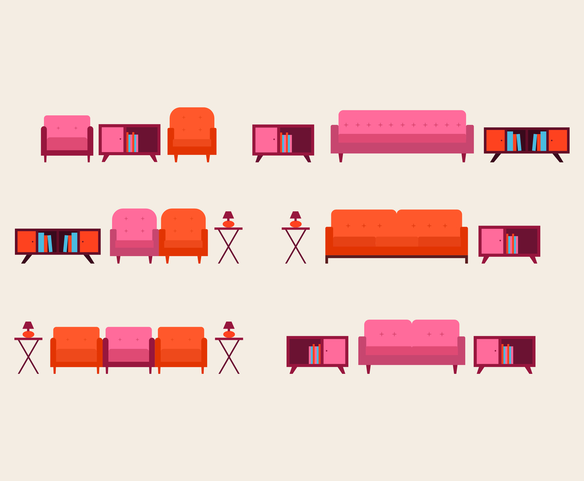 Flat Couch and Table Vector Pack