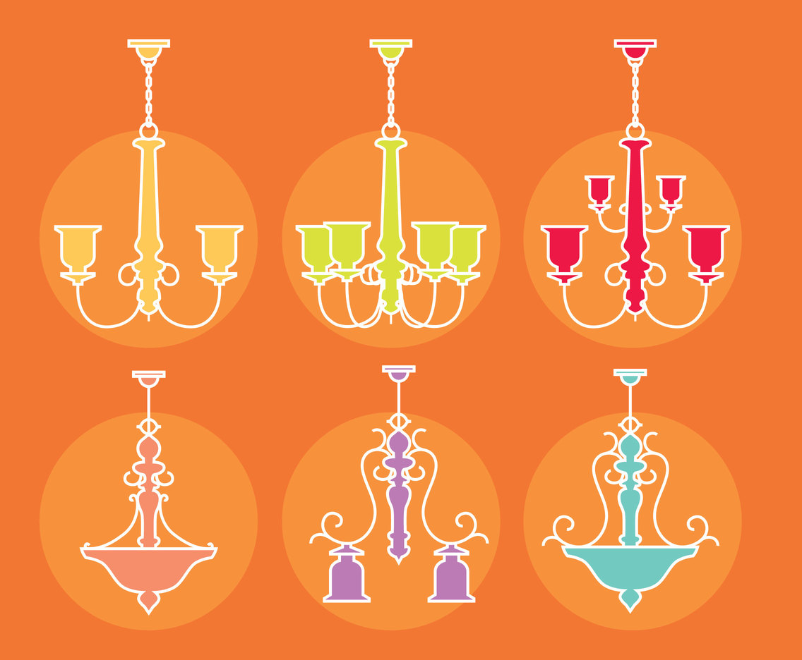 Colorful Chandelier Vector Set