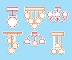 Chandelier Line Icons Vector
