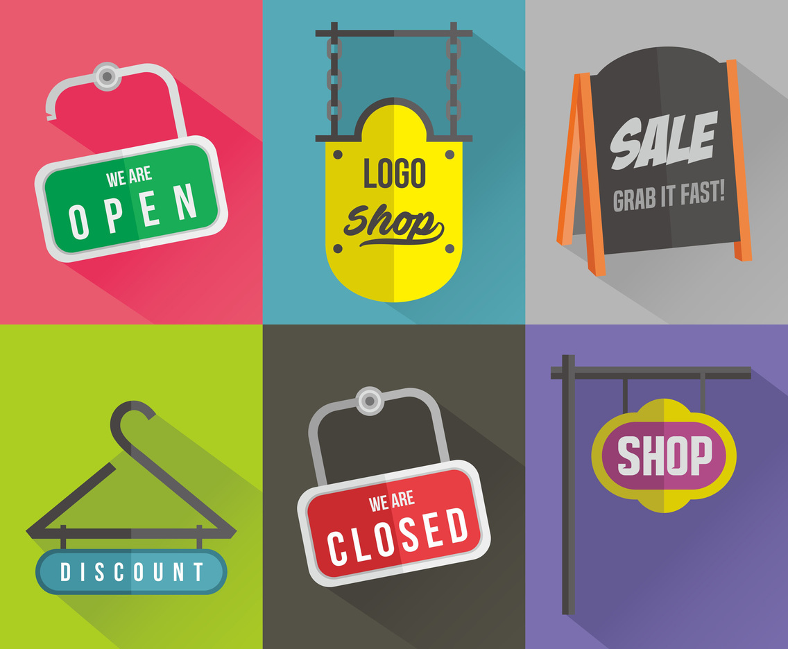 Store Sign Vector Set