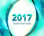 Free Vector New Year 2017 Blue wave Background