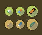 Flat Eraser Icon Set