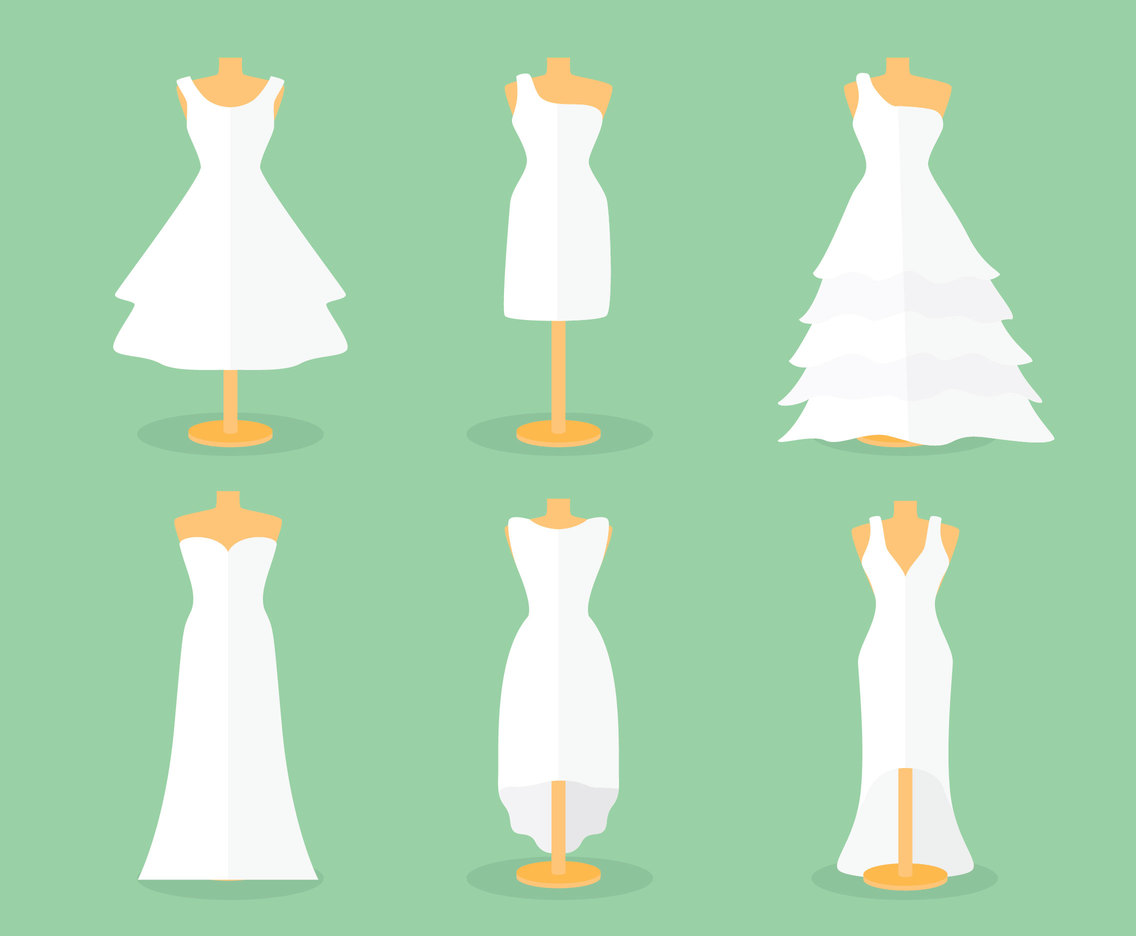 Flat Bride Dress Vector Set