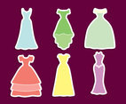 Colorful Bride Dress Vector Set