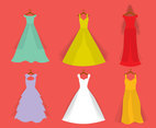 Nice Bride Dress Vector Set