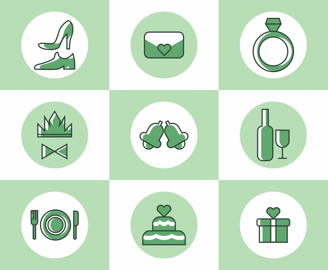 Flat Bride Icons Vector Set