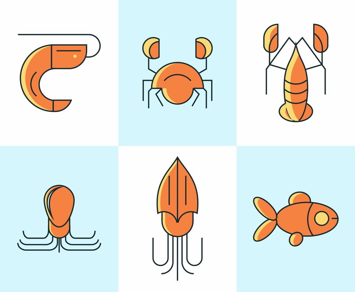 Shrimp and Seafood Vector set