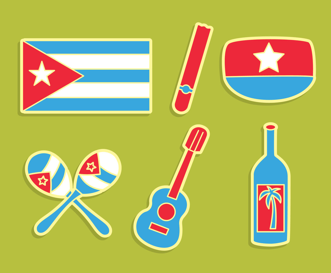 Cuba Element Icons Vector