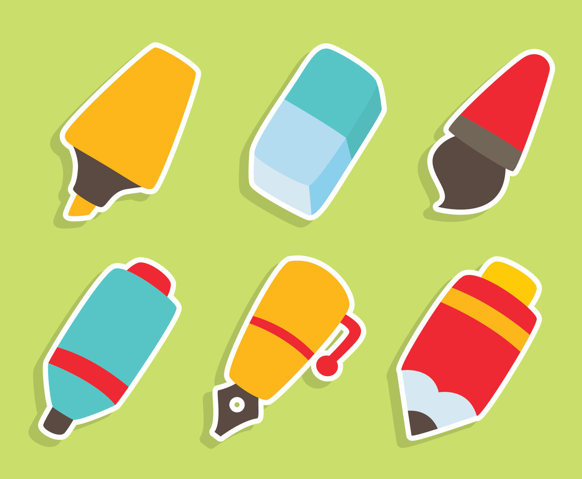 Nice Pen and Eraser Vector Set