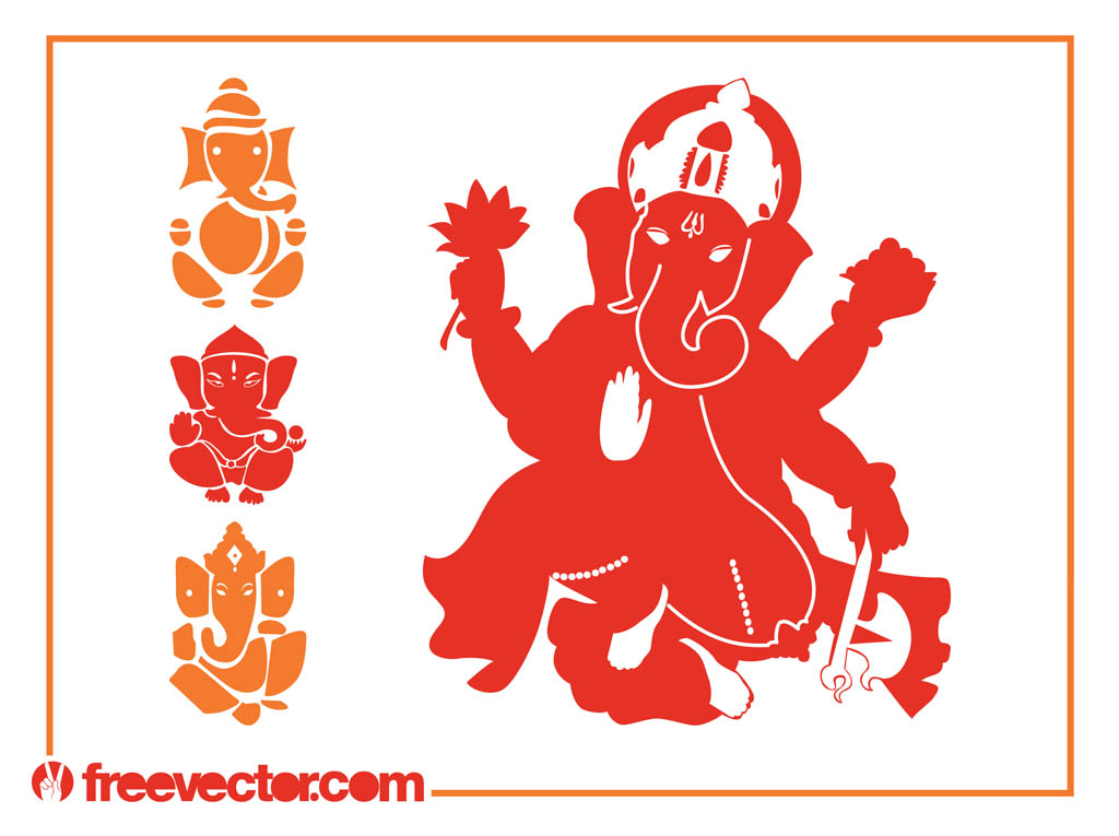 Ganesha Silhouettes Vector