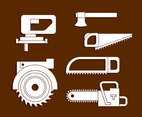 Lumberjack Tools White Icons Vector
