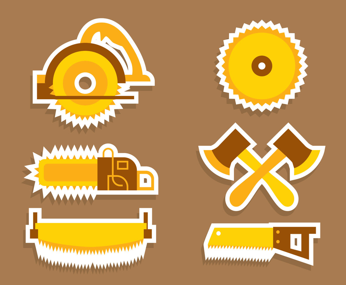 Nice Lumberjack Tools Vector Set