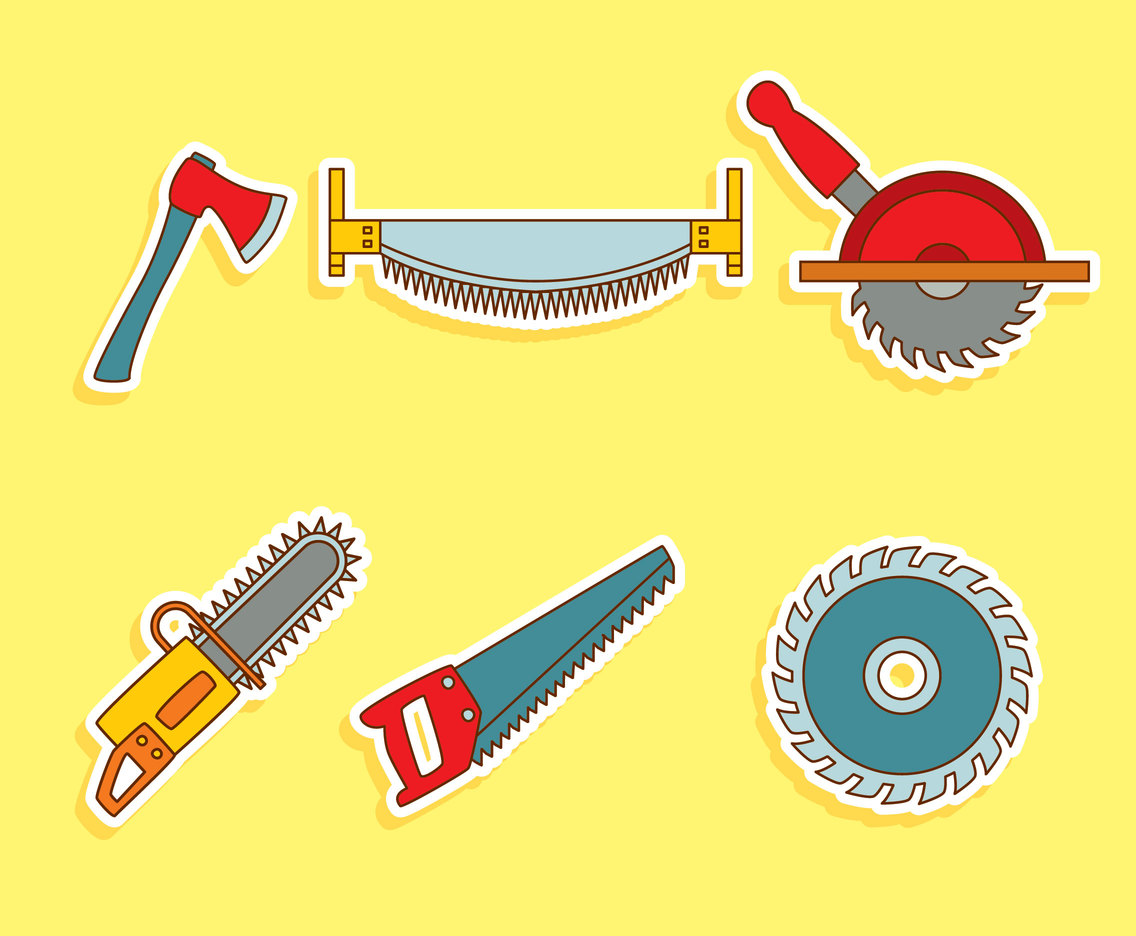 Hand drawn Lumberjack Tools Vector Set