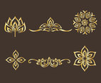 Golden Thai Ornament Vector Set