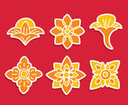 Nice Orange Thai Ornament Vector Set