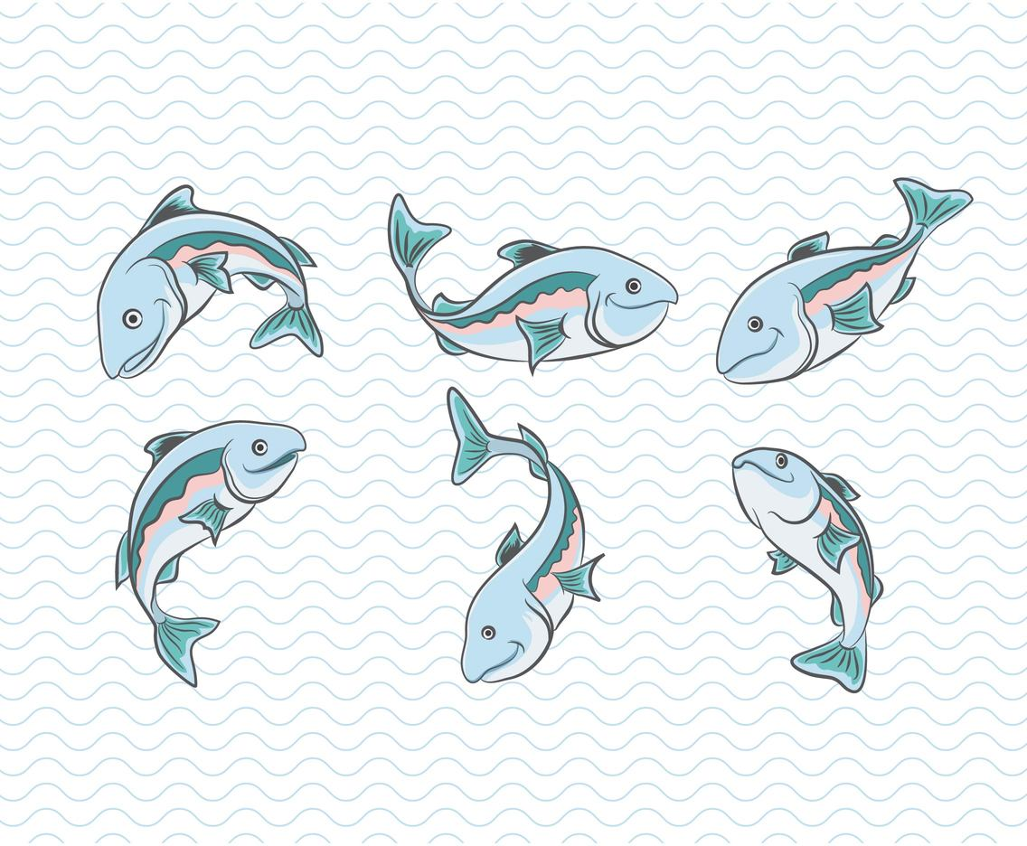 Cartoon Salmon Vector Set