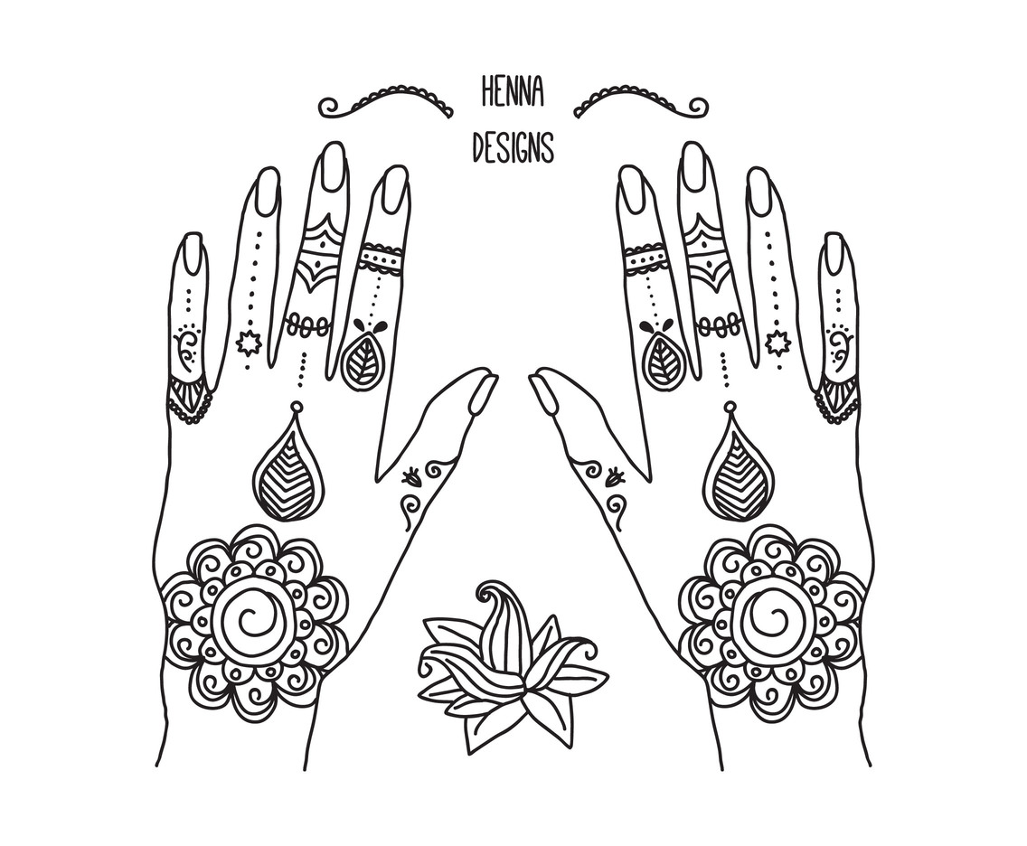Hands With Henna Tattoos Vector Art \u0026 Graphics