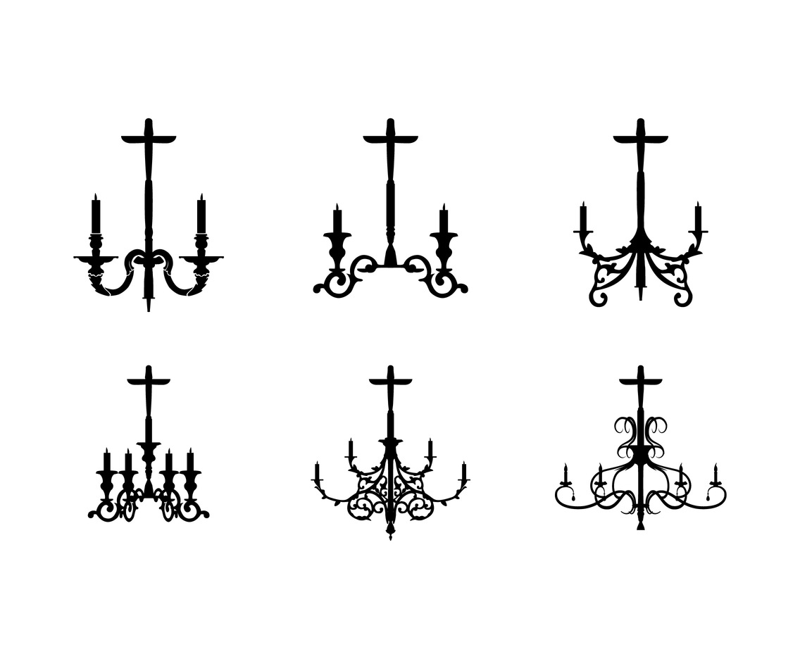 Six Chandelier Silhouette Vectors