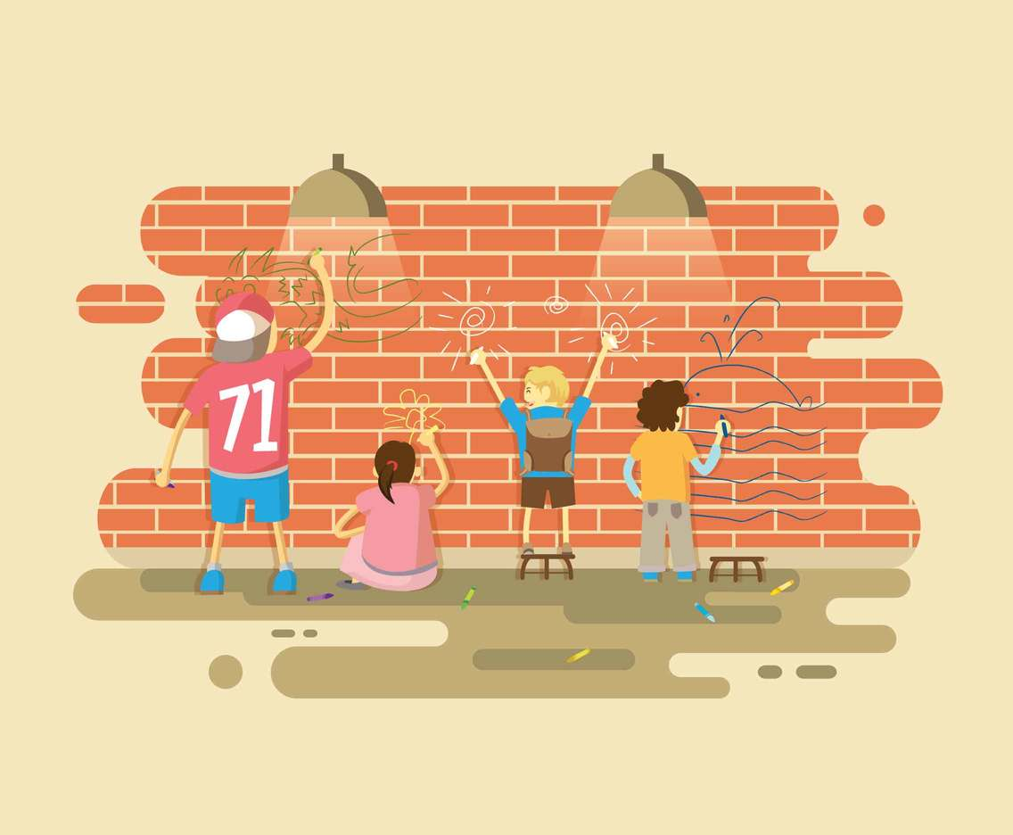 Kids with Crayon Wall Illustration