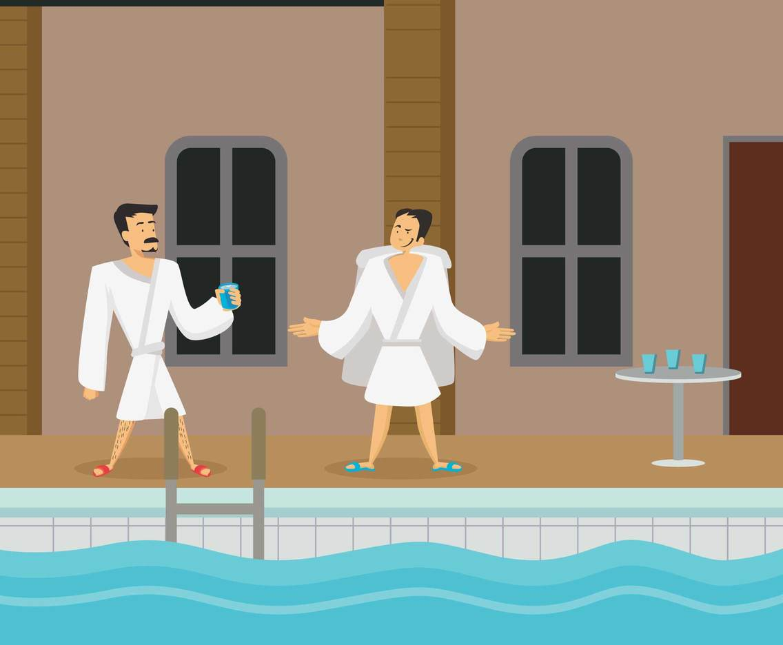 Men In Spa Illustration