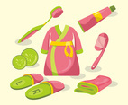Pink Bathroom and Bathrobe Vector Design