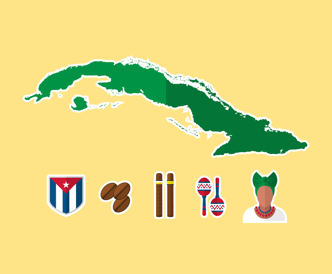 Cuba Flat Icon and Map