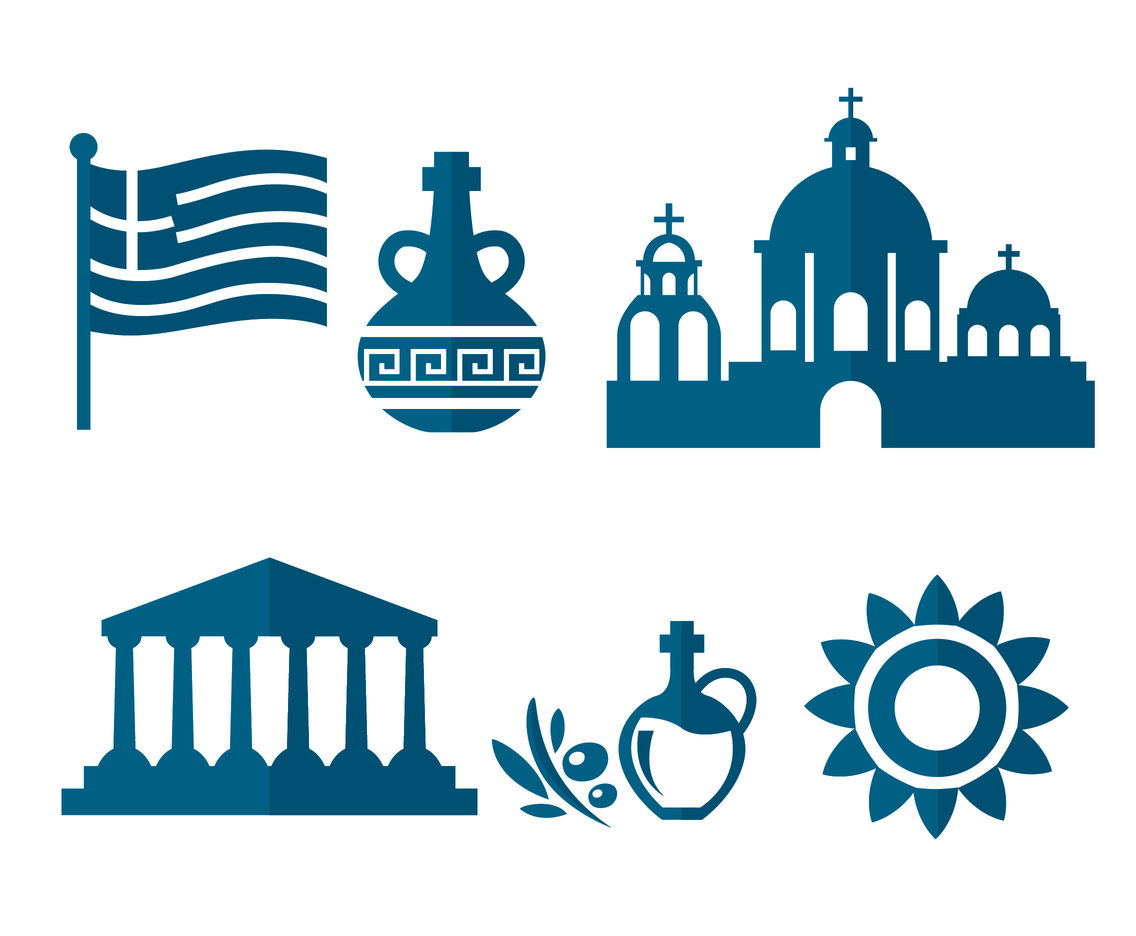 Greece Element Silhouette Icons Vector