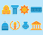 Greece Culture Element Icons Vector