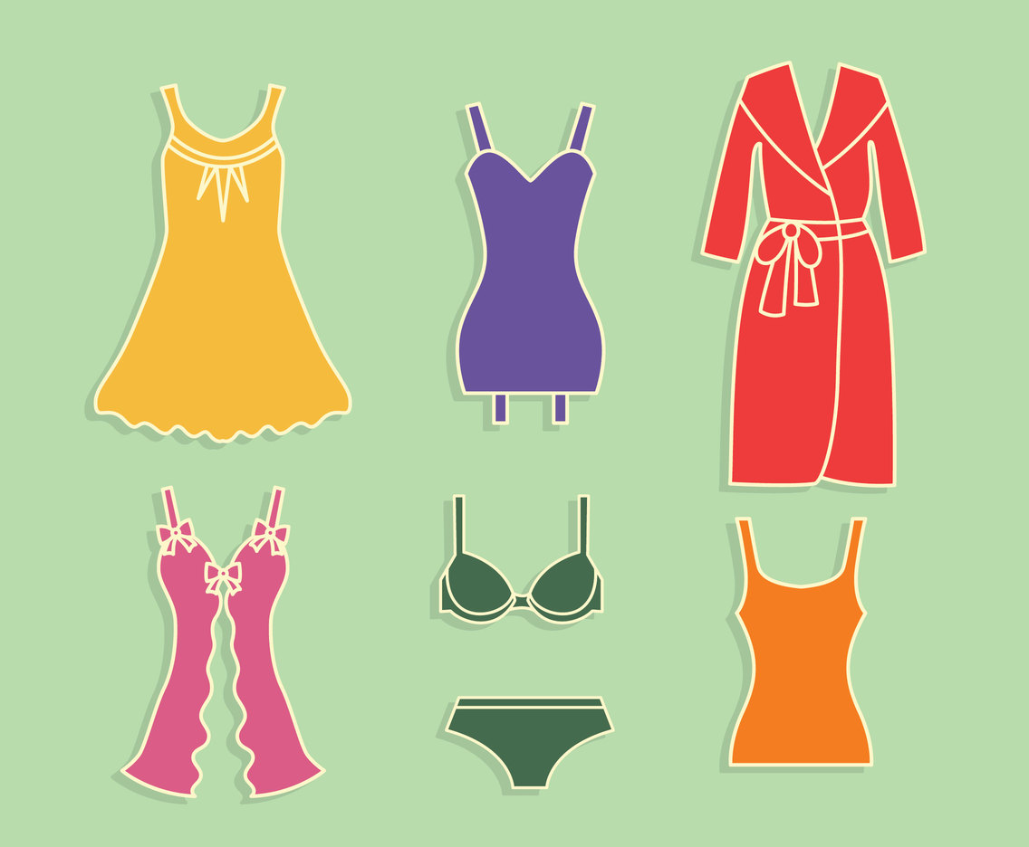 Woman Homewear Vector Set
