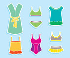 Bathrobe And Swimsuit Vector Set