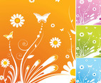 Spring Flowers Butterfly Vector