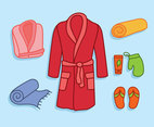 Bathrobe Element Vector Set