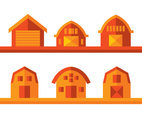 Barn Flat Icons Vector