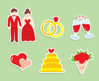 Wedding Cartoon Element Vector Set
