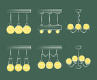 Simple Chandelier Icons Vector