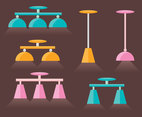 SImple Flat Chandelier Vector Set