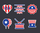 USA Indepedence Emblem Vector Set
