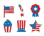 America Indpendence Day Element Vector Set