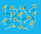 Blue Yellow Flying Kite