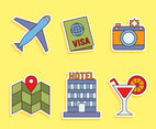 Travel Element Sticker Icons Vector