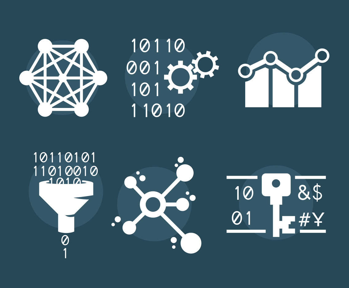 Big Data White Icons Vector