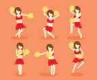 Girl Cheerleader Vector Set