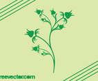 Blooming Green Flower Vector Silhouette