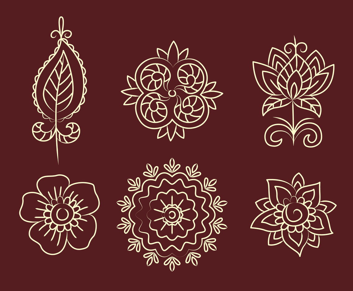 Henna Flower Ornament Vector Set