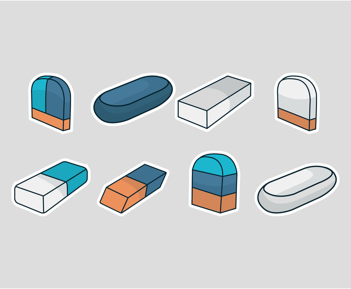 Eraser Rubber Vector Set