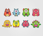 2D Monster Sticker Vector set